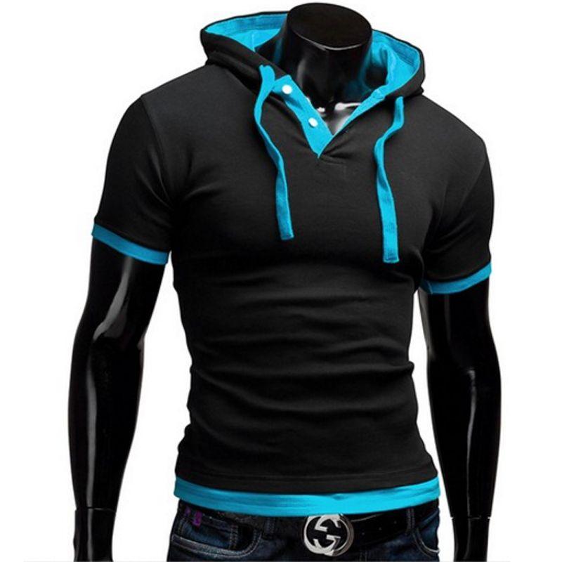 T-shirt hommes marque 2018 mode hommes à capuche col fronde hauts et t-shirts t-shirt hommes à manches courtes Slim hommes hauts grande taille 5XL