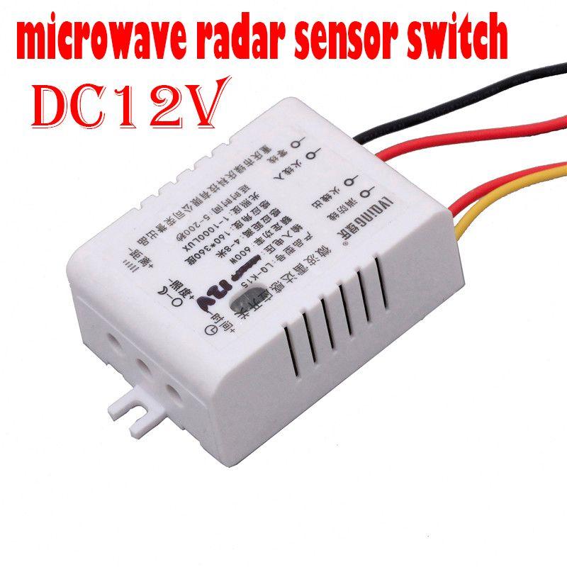 Nouveau 180 degrés DC 12 V micro-ondes Radar corps capteur de mouvement interrupteur contrôle de la lumière interrupteur Intelligent capteur d'induction de corps infrarouge