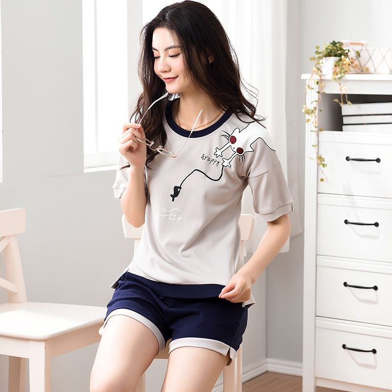 New Gift Pajama Sets For Women Casual Cotton Short Sleeve Pajamas Pijama Girls Cute Cartoon Print Shorts Sleepwear Pyjama Summer