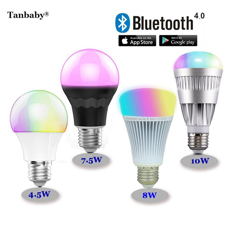 Tanbaby RGBW Bluetooth 4.0 LED Bulbs 4.5W 7.5W 8W 10W E27 Smart Mi.light RGB + color temperature adjust dimmable lighting lamp