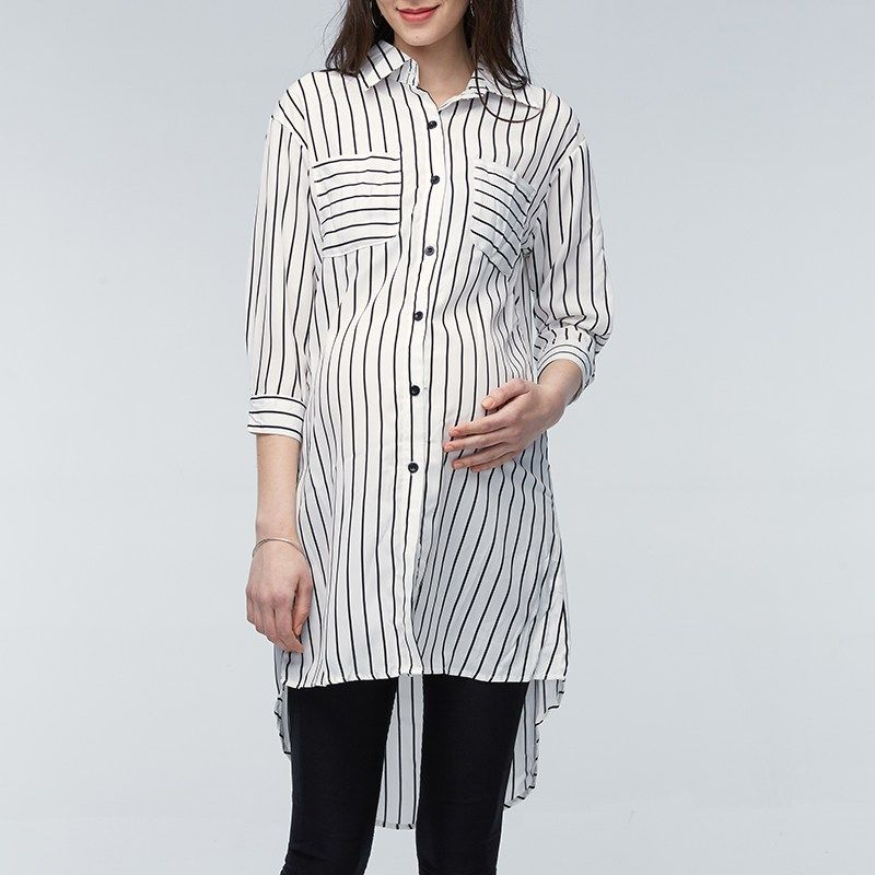 Maternity Clothings Pregnant Women Blouses 2018 Pregnancy Lapel 3/4 Sleeve Casual Loose Striped Shirts Plus Size Oversized 5XL