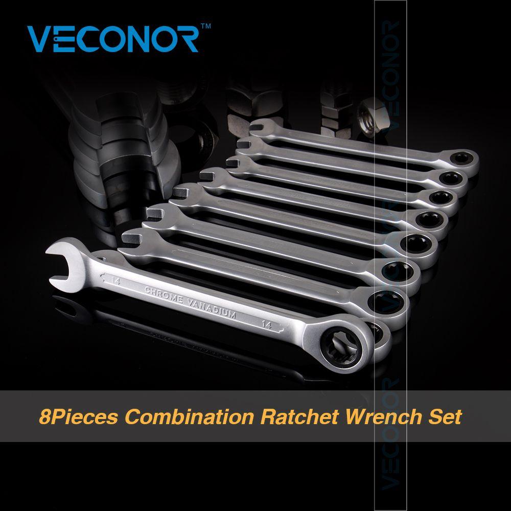 Veconor 8pcs/set Ratchet Spanner Combination Wrench Set Ratchet Handle Key Chrome Vanadium 8,10,12,13,14,15,17,19mm