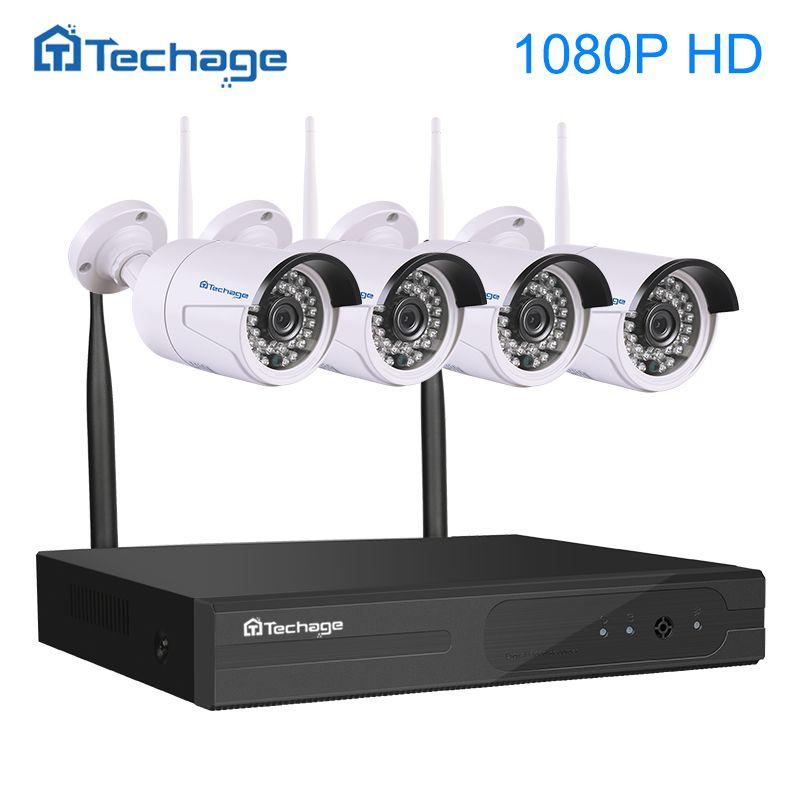 Techage 4CH 1080P Wireless NVR Kit Wifi CCTV System IR Outdoor Waterproof 1080p 2MP IP Camera P2P Security Surveillance System