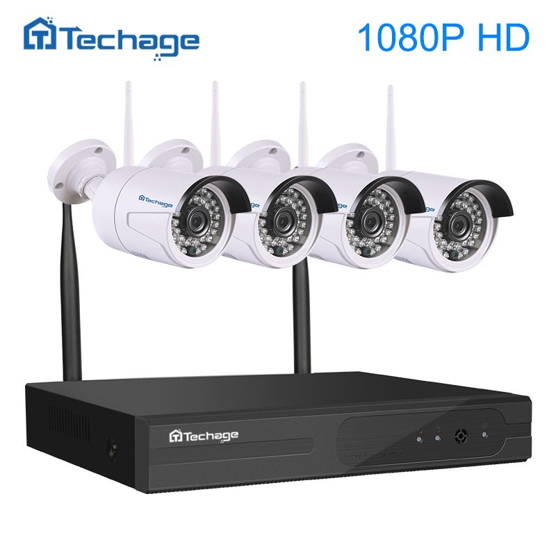 Techage 4CH 1080P Wireless NVR Kit Wifi CCTV System IR Outdoor Waterproof 1080p 2MP IP Camera P2P Security Surveillance System