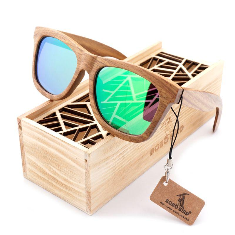 BOBO BIRD Wood Sunglasses Brand Designer brown wooden sunglasses Style Square SunGlasses Gafas Oculos Masculino