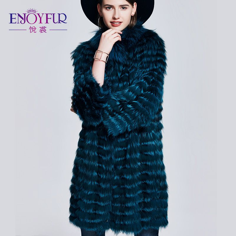 ENJOYFUR Real Fox Fur Coat Double-Faced Fashion Slim Coat With Fur Autumn Winter Fur Coat For Women Genuine Leather Fur Coats