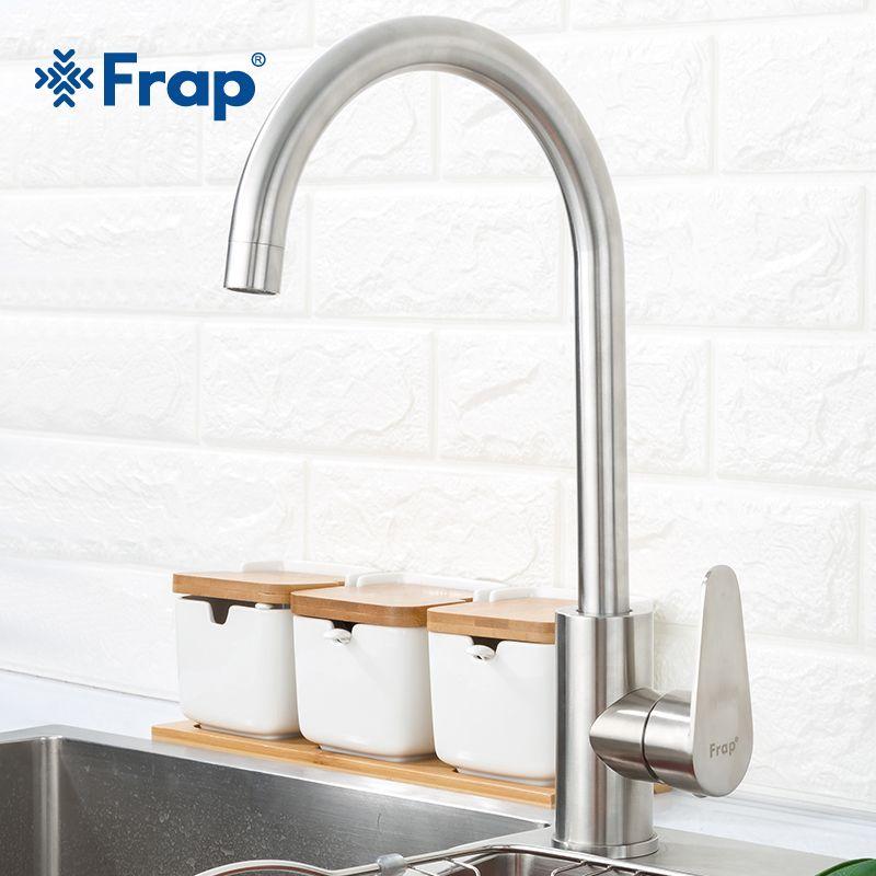 Frap 304 acier inoxydable mitigeur monotrou cuisine robinet mélangeurs évier robinet cuisine robinet moderne eau chaude et froide F4048