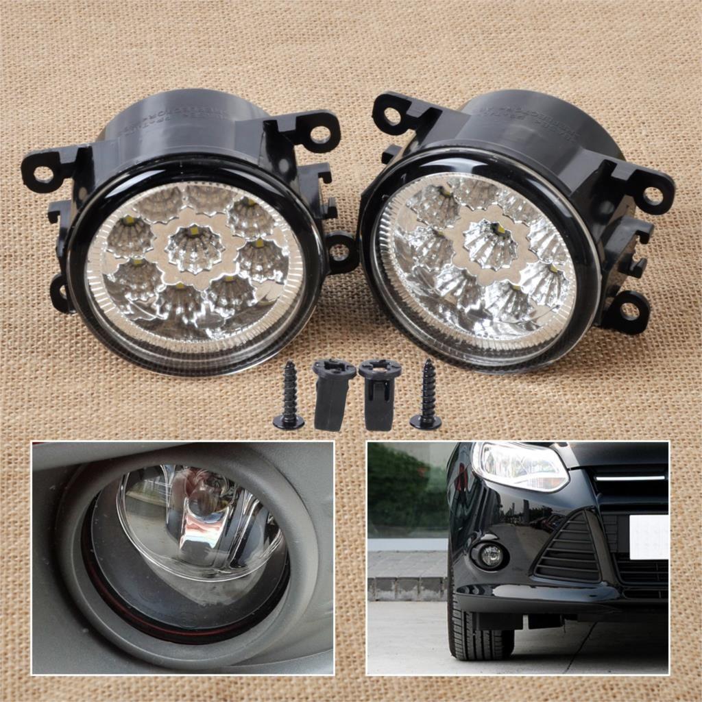 DWCX 2x55 W 9-LED Ronde Avant Droit/Gauche Brouillard Lampe DRL Feux de jour Feux de Route 4F9Z-15200-AA pour Ford Focus Acura Honda