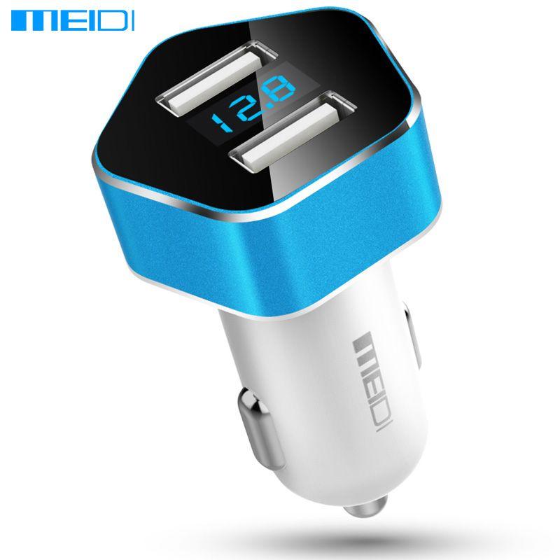 Meidi автомобиля Зарядное устройство Dual USB Порты и разъёмы Smart LED Напряжение Дисплей автомобиля Авто-прикуриватели мобильный телефон Универса...