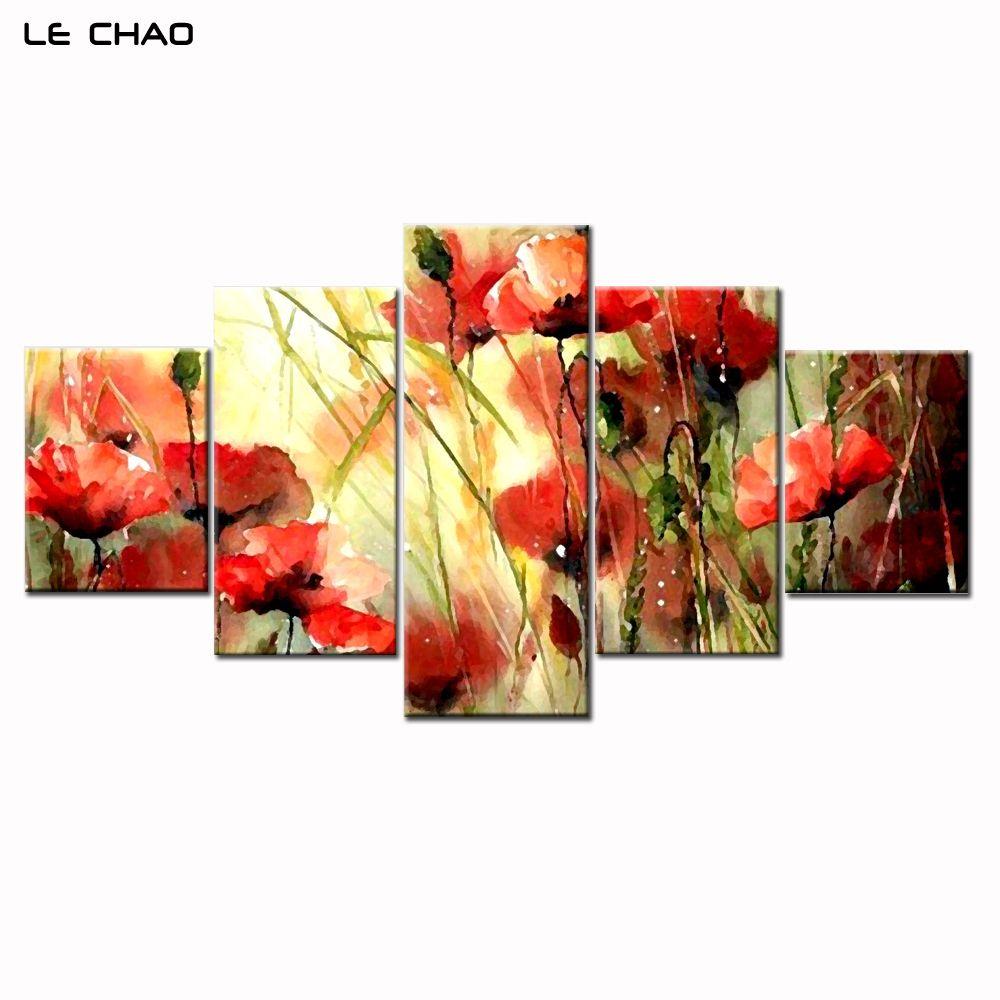 Décor à la maison Impressions Sur Toile Mur Photos pour Salon Modulaire Photos Toile Peinture Belle Fleurs Combinaison Peinture