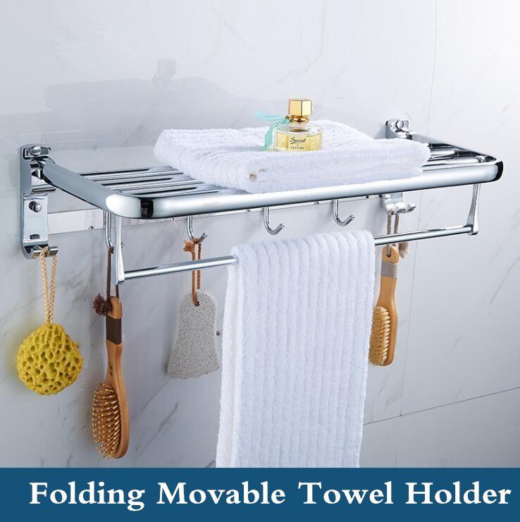60cm Stainless Steel Bath Double Tiers Towel Rack Folding Movable Bath Towel Holder Active Rails Pants Hanger Bath Accessories