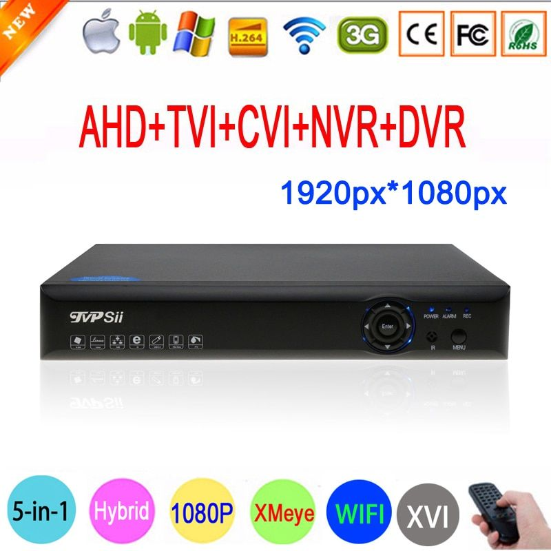 Blue-Ray Case 1080P 2MP Full HD Hi3531A 16 Channel 16CH 6 in 1 WIFI Coaxial Hybrid XVI CVI TVI IP NVR AHD CCTV DVR Free Shipping