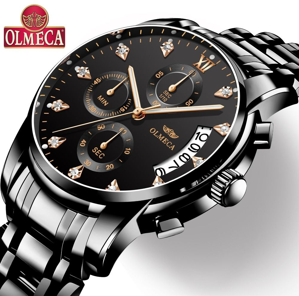 Mens Watches Top Brand Luxury OLMECA Clock Relogio Masculino 3ATM Waterproof Watches Chronograph Wristwatch Reloj Hombre for Men