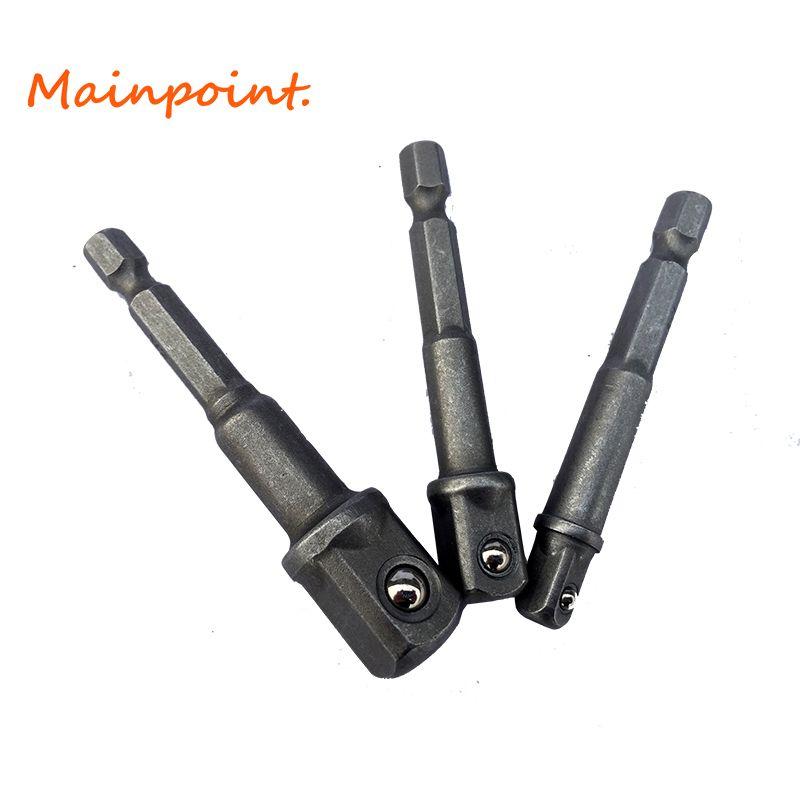 3 Stücke 1/4 3/8 1/2 Hex Schraubenschlüssel Fahrer Adapter Set Elektroschrauber Kopf Anschluss Schaft Bohrfutter Sockel Werkzeugsatz