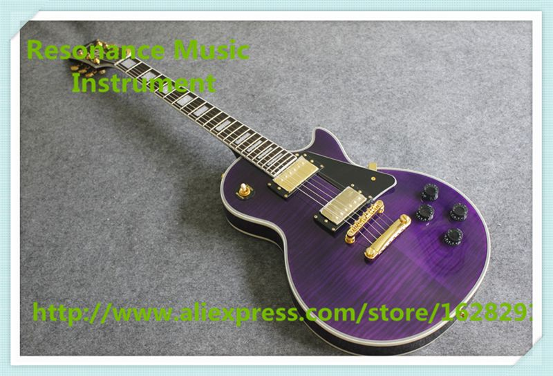 New Arrival Purple Flamed Maple Finish LP Electric Guitar China Black Plate G Custom Guitar