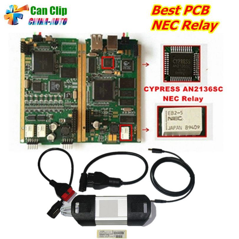 A++ for Renault CAN CLIP Golden PCB Board V178 Full Chip with CYPRESS AN2136SC and NEC Relays Gold CAN CLIP