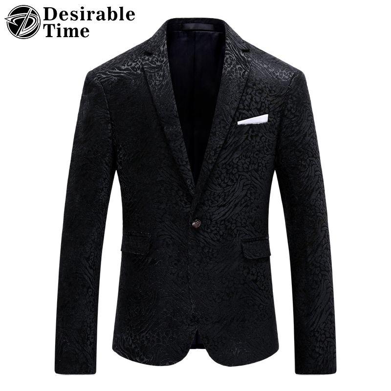 2017 schwarz Männer Slim Fit Gedruckt Blazer und Anzug Jacke M-4XL Fashion Party Bühne Tragen Blazer Für Männer DT305
