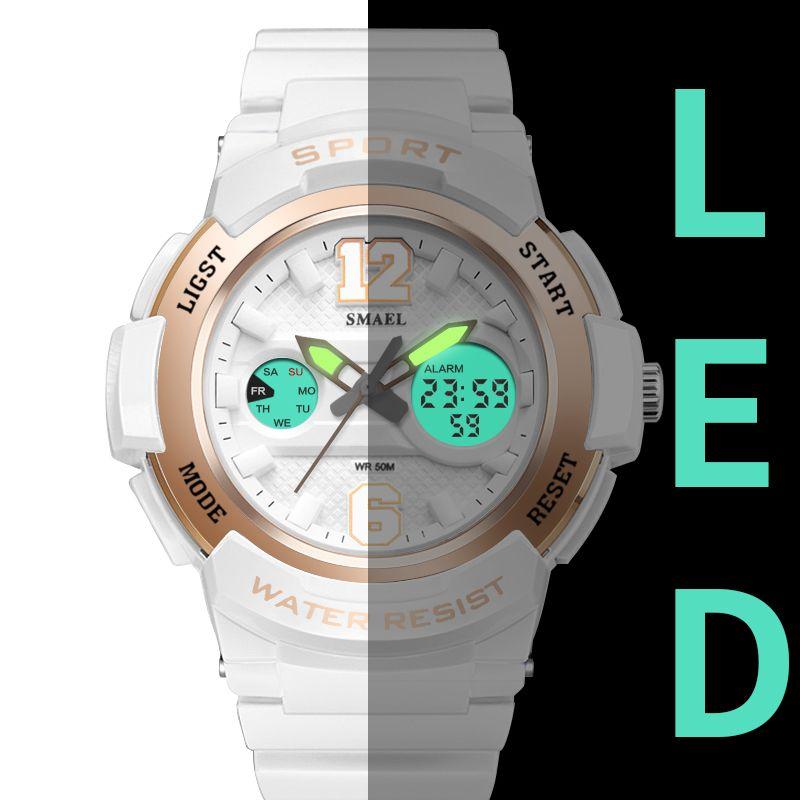 Sport Uhren für Frauen SMAEL Damen Uhr LED Weiß Uhr Uhr Frau uhren para mujer 1632 Digitale Wasserdichte Frauen Uhren