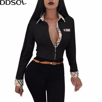 DDSOL Office Lady Blouse Shirts Printemps Manches Longues Bouton Tournent Vers Le Bas Chemise Femmes Sexy Casual OL Blouses T-shirts Tops