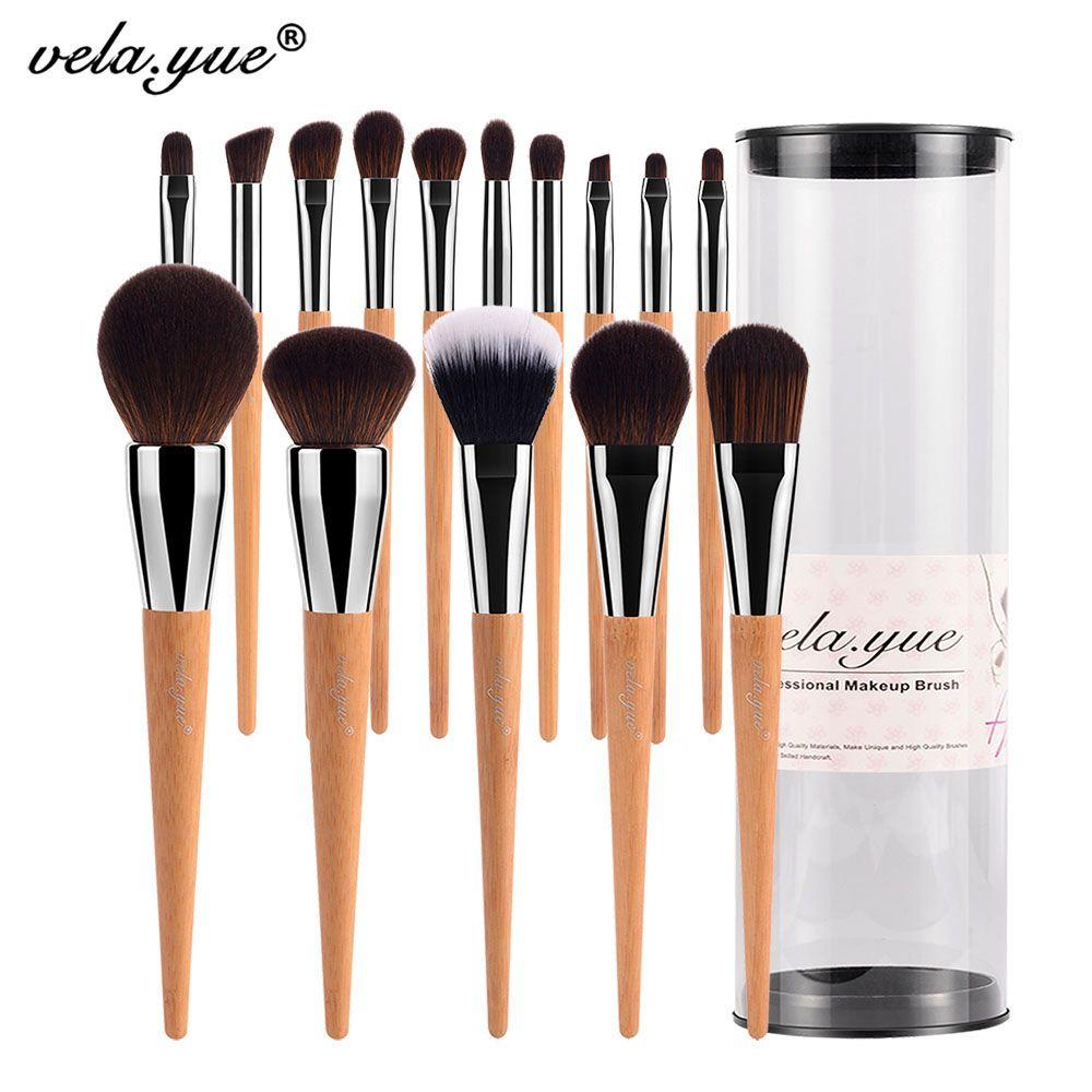 Ensemble de pinceaux de maquillage vela. yue Pro 15 pièces Kit d'outils de beauté lèvres visage joue yeux avec étui Collections de technologie sans cruauté