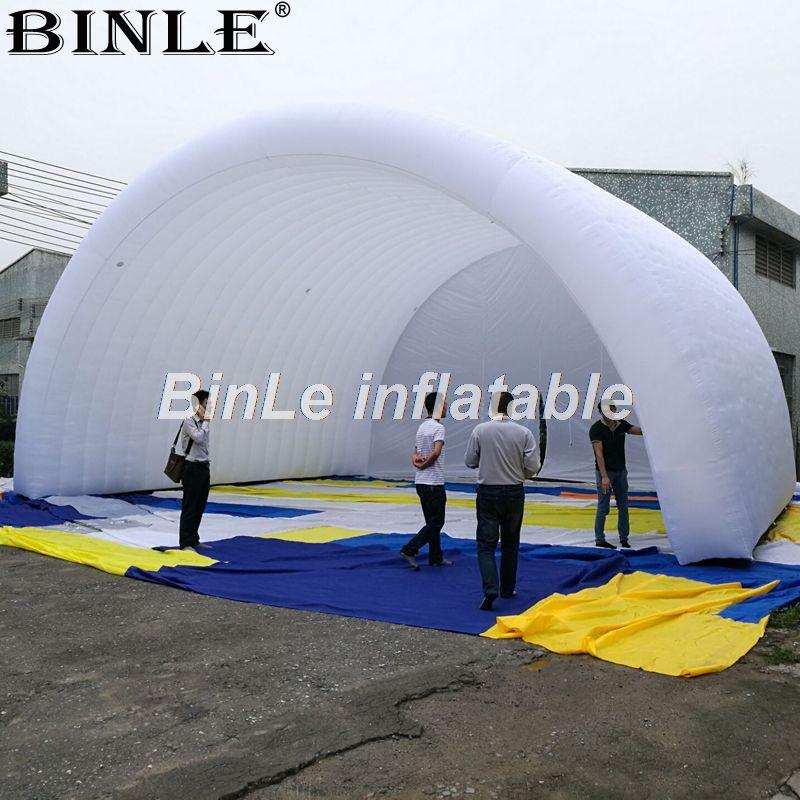 10x8x6m weiß wasserdicht oxford riesigen aufblasbaren bühne abdeckung arch stil bühne zelt open air dach baldachin für konzert oder veranstaltungen