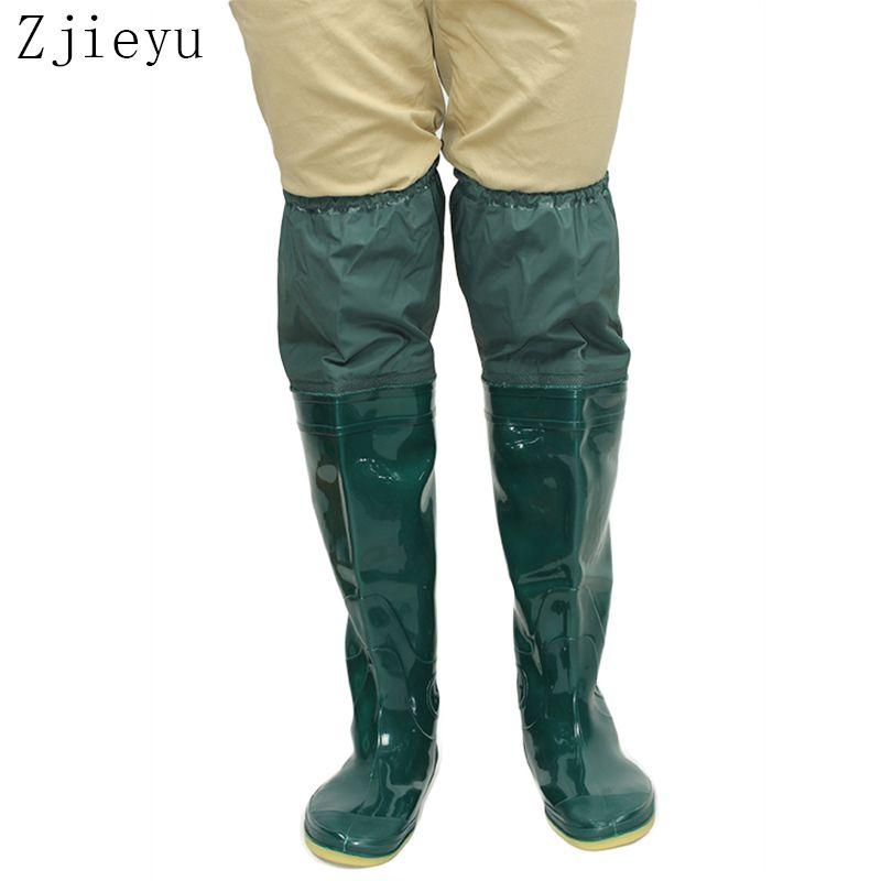 2018 nouveau vert doux semelle bottes de pêche pvc haute bot bottes de pluie hommes antidérapant bottes galoshes hommes en caoutchouc botte de pluie