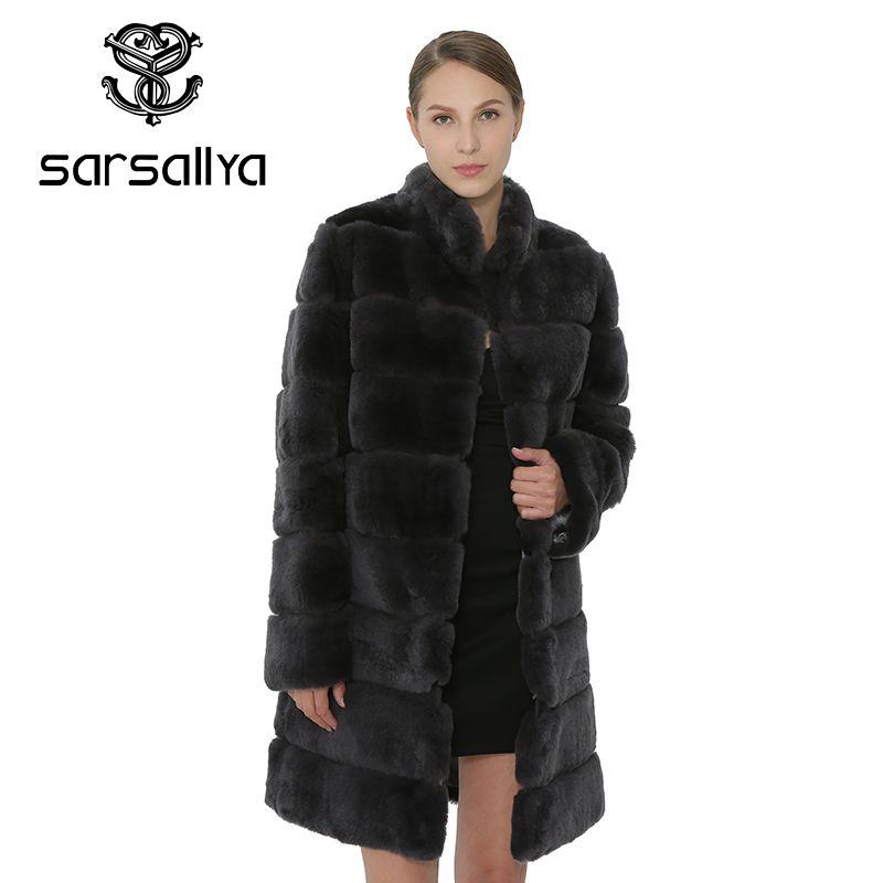SARSALLYA Rex Kaninchen Fell Frauen Mantel Abnehmbare Mantel Jacke Warme Winter Frauen Kleidung Natürliche Pelz Weibliche Mantel Jacke
