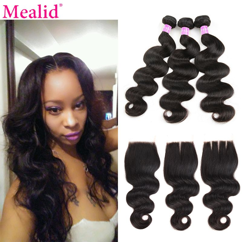 [Mealid] Brazilian Body Wave 3 Bundles With Closure Non-remy Natural Color Human Hair Closures Body Wave