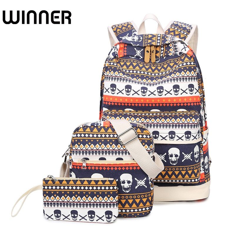 Brand Printing Women Geometric Backpack Skull Canvas Bookbags Set Backpack School Bags for Teenage Girls