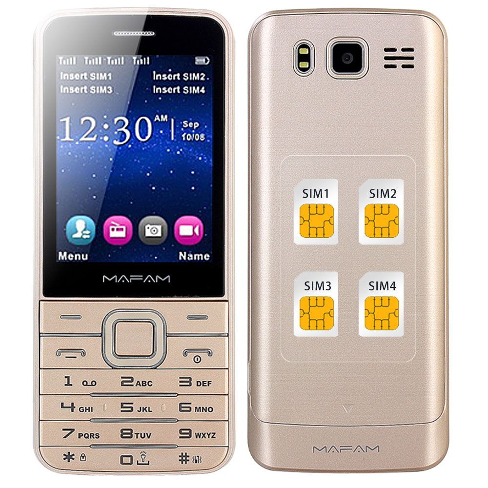 MAFAM Four Quad SIM 4 Four Standby Slim Senior Mobile Phone 2.8