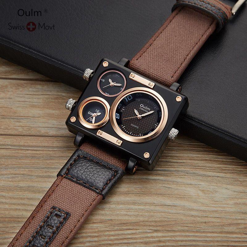 Oulm 2019 New Watch Men Clock Fashion Sport Quartz Steel Mens Watches Top Brand Luxury Waterproof Relogio Masculino