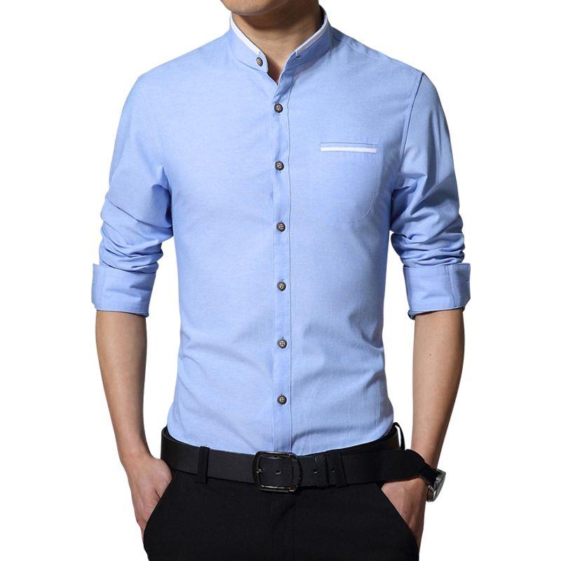 2019 nouvelle marque décontracté à manches longues col à bandes facile d'entretien chemises sans col Slim Fit chemise pour hommes d'affaires