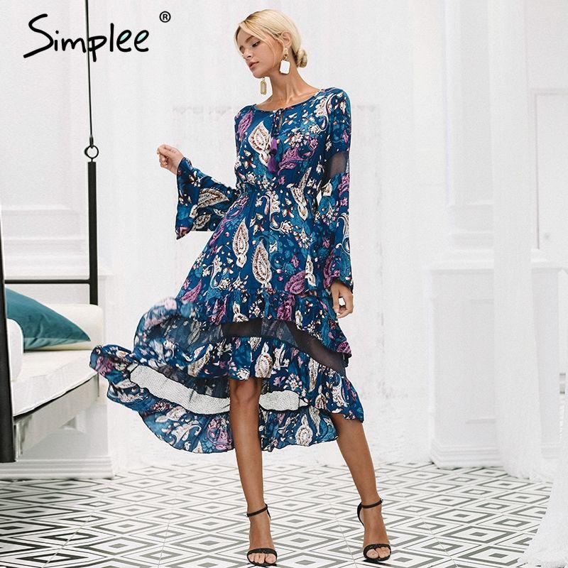 Simplee Ruffles print long dress women Mesh hollow out flare sleeve high waist dresses 2018 Autumn casual elegant dress