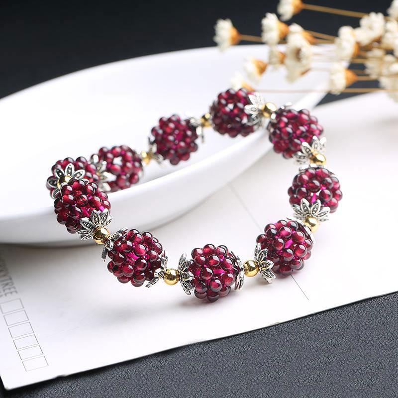 Free Shipping Pretty Hand Weave 3.5mm Round Shape Natural Red Garnet Gems Elasticity Bracelets w3481