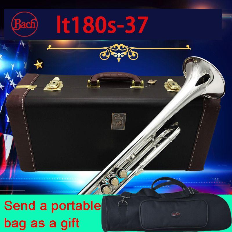 100% original Bach trompete LT180S-37 Silber Überzogene hohe qualität Bb Exquisite Hand 37 Trompete professionelle Musical Instruments