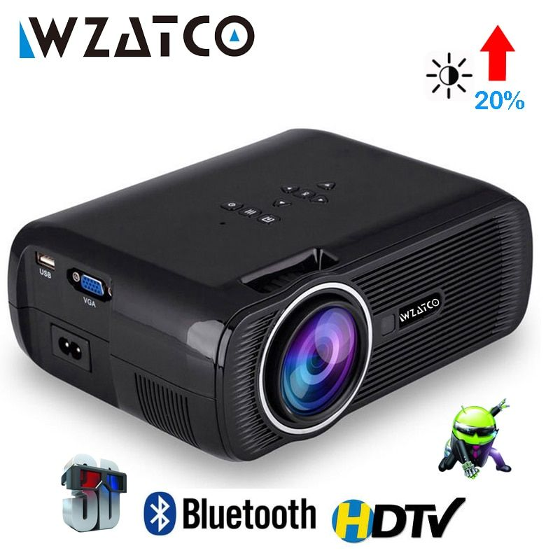 WZATCO CTL80 Android 6 Wifi Smart Portable Mini LED 3D TV Projector Support Full HD <font><b>1080p</b></font> 4K Video Home Theater Beamer Proyector