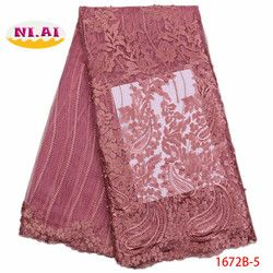 2019 Latest Nigerian Laces Fabrics High Quality African Laces Fabric For Wedding Dress French Tulle Lace With Beads XY1672B-5