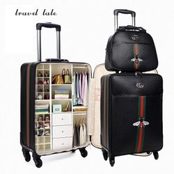 Travel tale fashion 16/20/24 size 100%PU Rolling Luggage Spinner brand Travel Suitcase