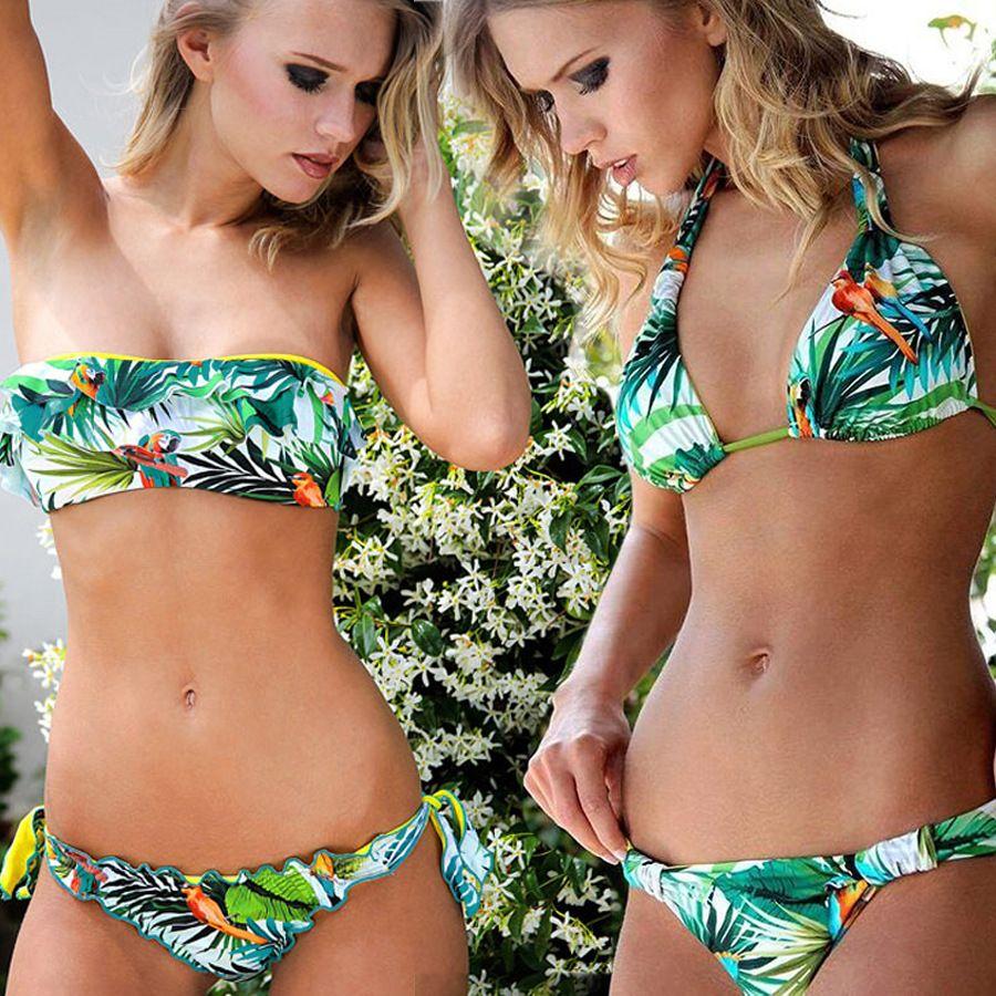 2017 nouvelle plante imprimer licou maillot de bain sans bretelles soutien-gorge Push Up Sexy Bikini ensemble femmes maillots de bain Bandeau maillot de bain Plavky