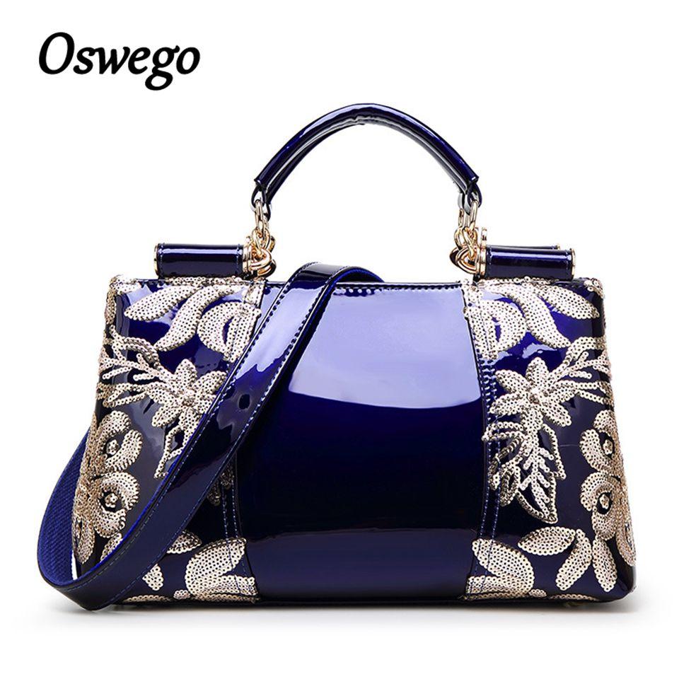 Oswego Bag Ladies Genuine Leather Luxury Designer Women's Bag Sequined Handbags Top Handle Tote Messenger Bag for Clutch Purse