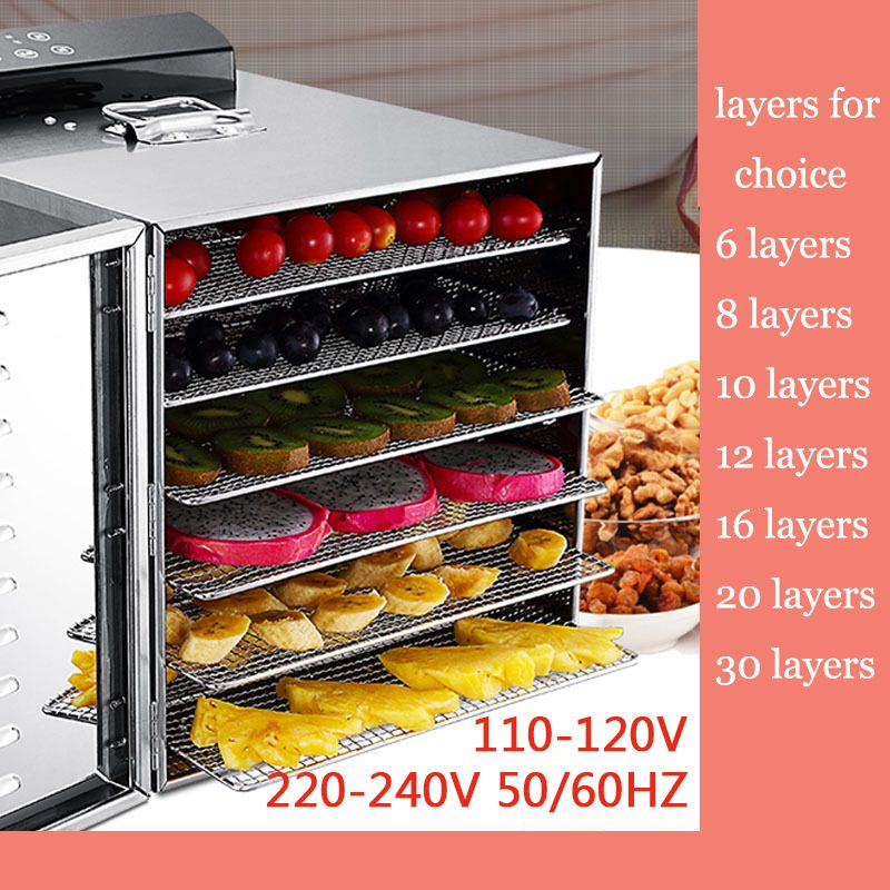 6 Layer 400W Stainless Steel Fruit Vegetable Dryer Machine Electric Vegetable Dehydrator Computer Control Food Air Dryer Tool