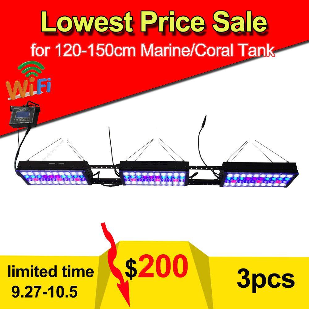 3PCS PopBloom Aqua Dimmable WIFI remote control LED Aquarium Light Coral Marine Reef LPS Fishes Tank fish aquarium led lighting