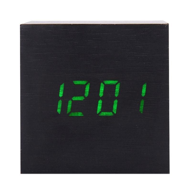 1 Pcs En Bois Alarme Horloge Avec Thermomètre Temp LED Affichage Numérique Horloges de Table Électronique De Bureau Décor Meilleurs Cadeaux