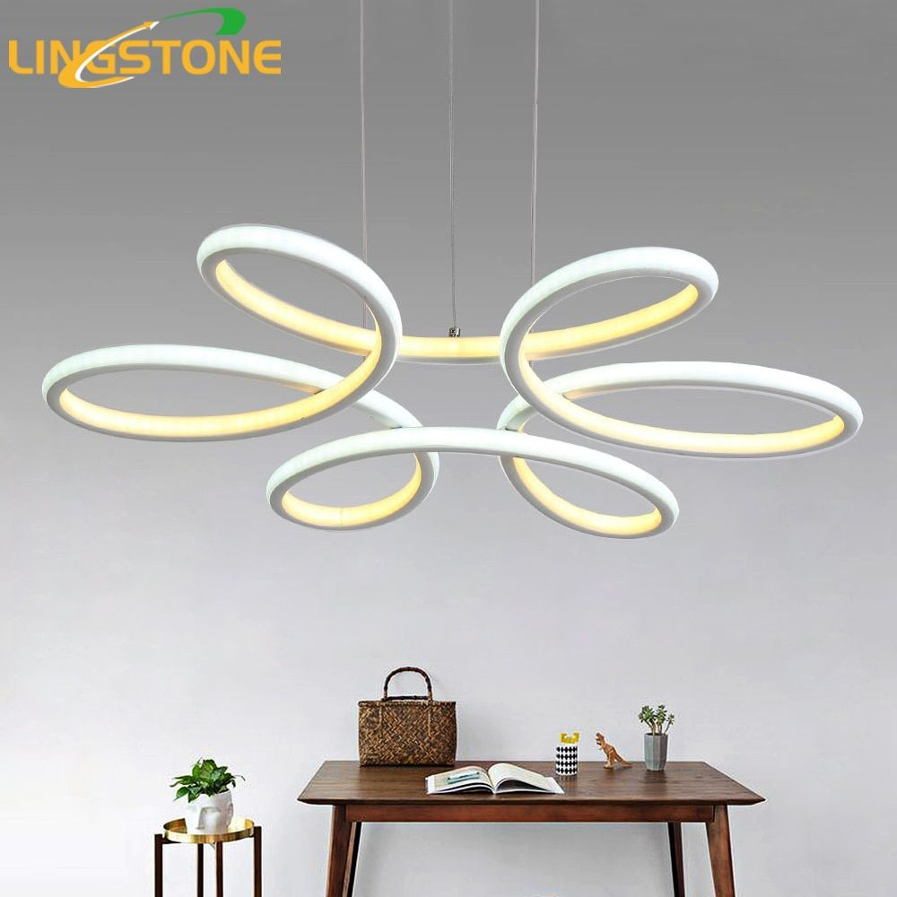Chandelier Lighting Lustre Led Lamp Modern Hanging Light Fixture Aluminium Ceiling Plate Remote Control Chandeliers Living Room