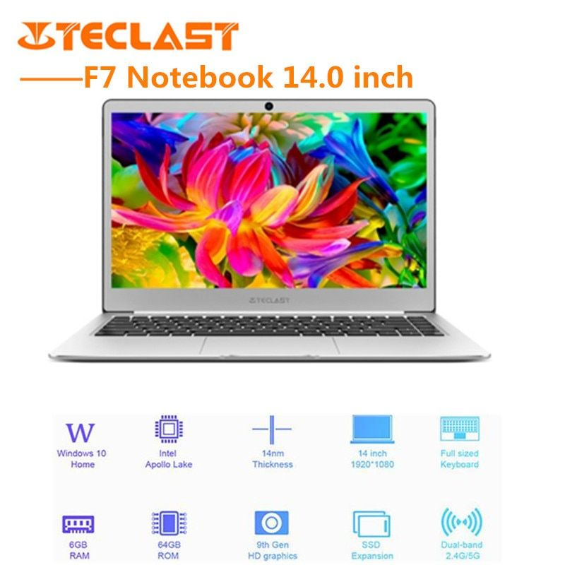 Teclast F7 Notebook 14.0'' <font><b>Windows10</b></font> Intel Celeron N3450 QuadCore 1.1GHz BT4.2 6GB RAM 128GB SSD Laptop English Version EU Plug