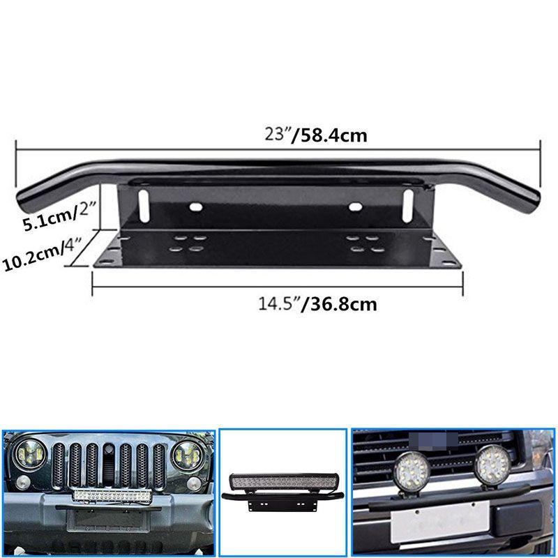 Nouveauté acier inoxydable Bull Bar Type voiture SUV pare-chocs plaque d'immatriculation lampe de travail Kit de support CSL2017