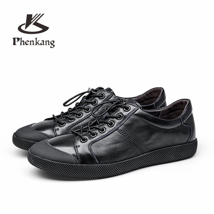 Men flats genuine soft leather casual shoes flat mens black daily net leisure lace up shoe 39-44 Phenkang
