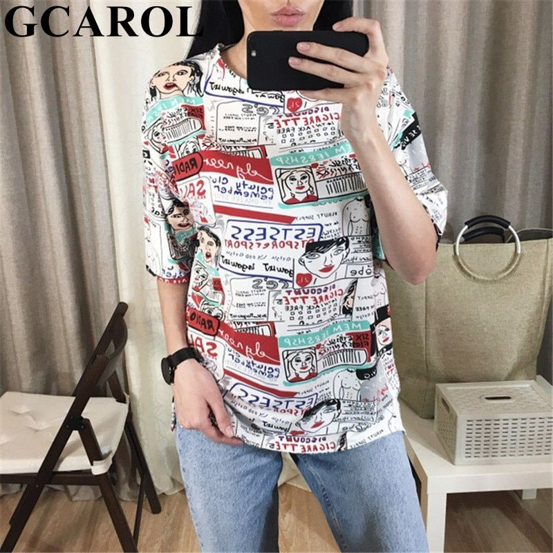 GCAROL kawaii 2019 Early Spring Summer Cartoon Printed Long T-shirt Oversized Colorful Streetwear Tees High-Cost Effective Tops
