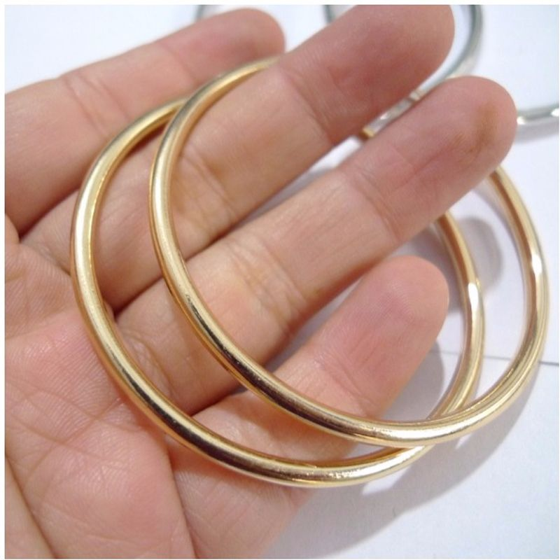 Round Hoop Earrings Gold and Black Plated Earring Smooth Circle Earrings Women Office Party Gifts Fashion Jewelry
