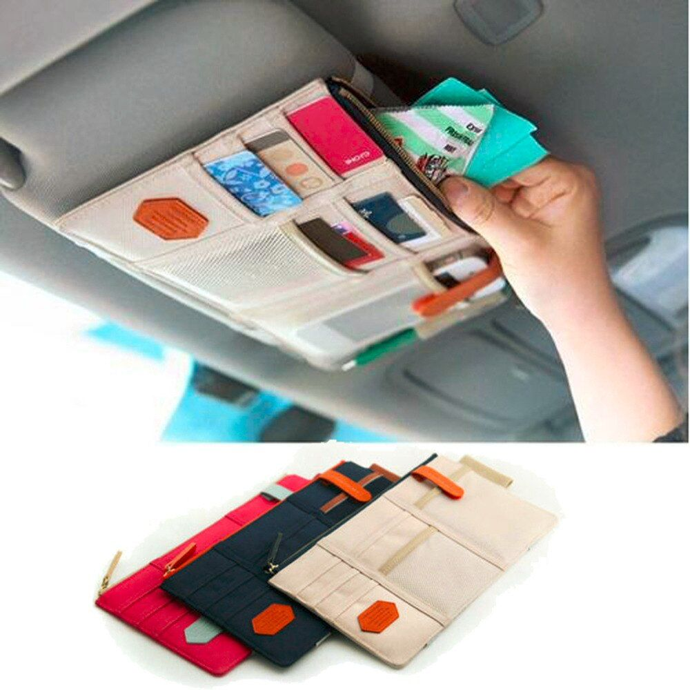 New Car Sun Visor Storage Point Pocket Documents Organizer Bag Pouch Card Holder Credit Card Namecard pen beige hot selling